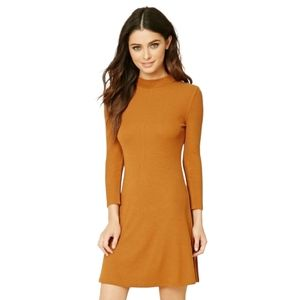 Forever 21 Mustard Yellow Long Sleeve Ribbed Dress